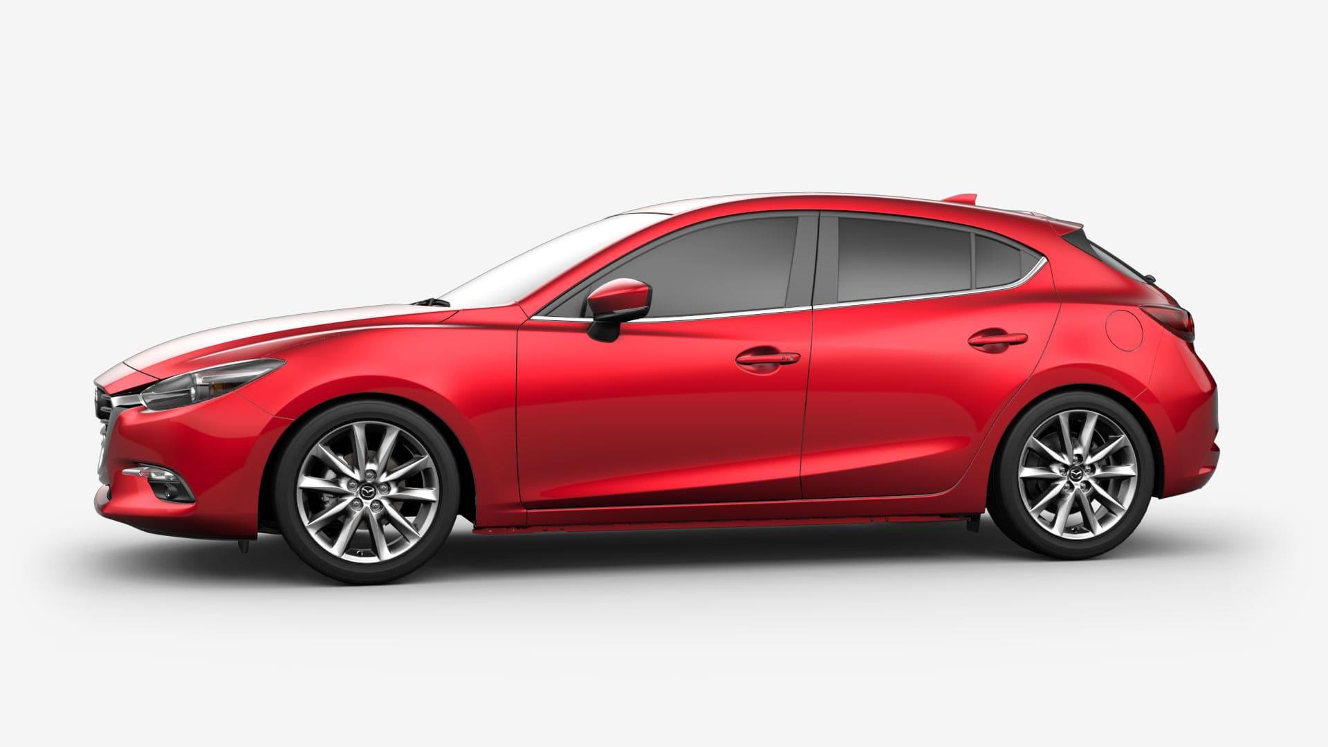 Mazda 3 zijkant rood