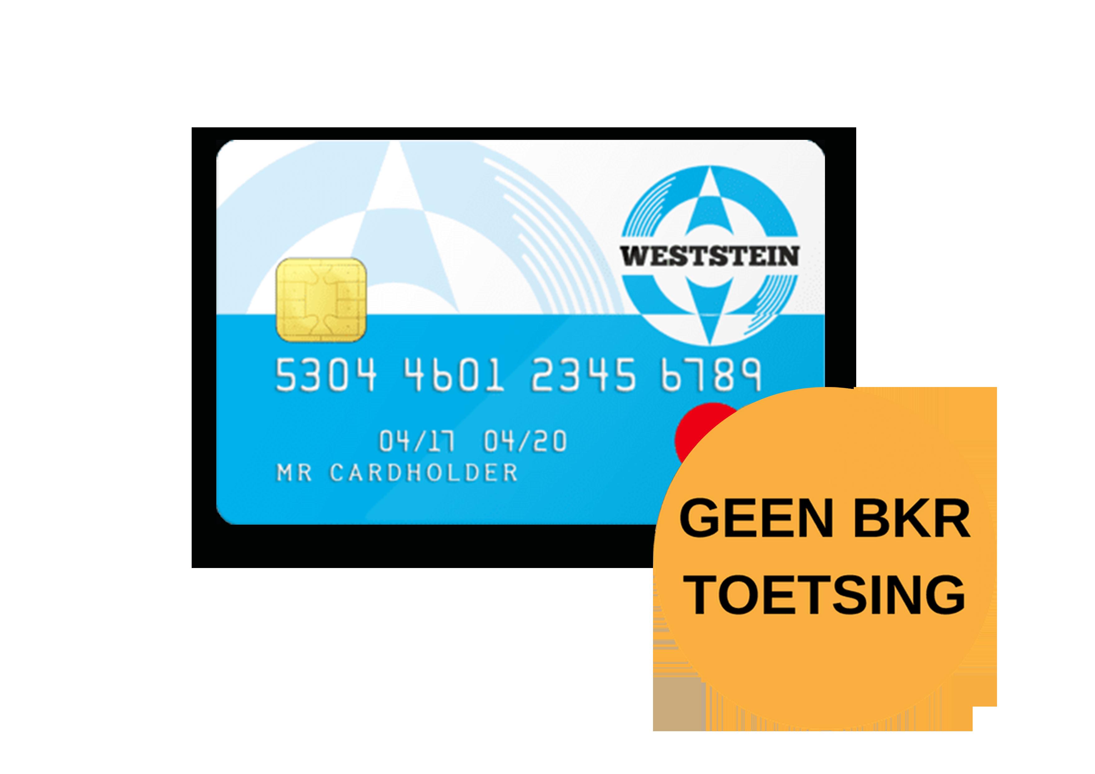 WestStein creditcard geen BKR toetsing