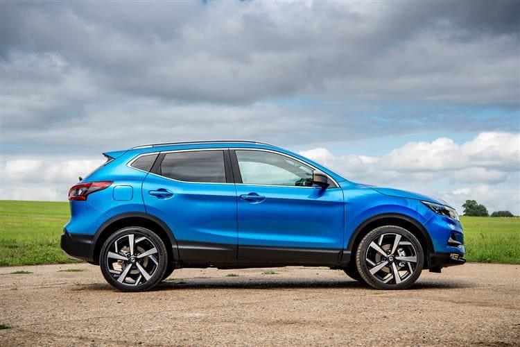 Nissan Qashqai zijkant blauw